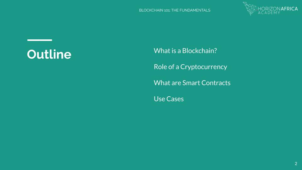 Horizon Africa Blockchain Fundamentals Course - Outline