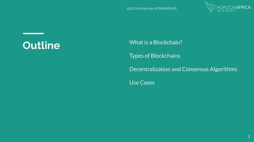 Horizon Africa Blockchain Course Outline